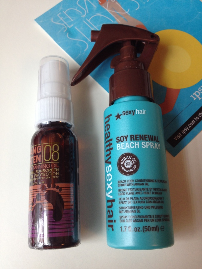 In keeping with the sun theme, tanning oil and beach spray.