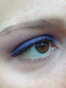 The blue color comes out somewhat plummy on my eyelids.