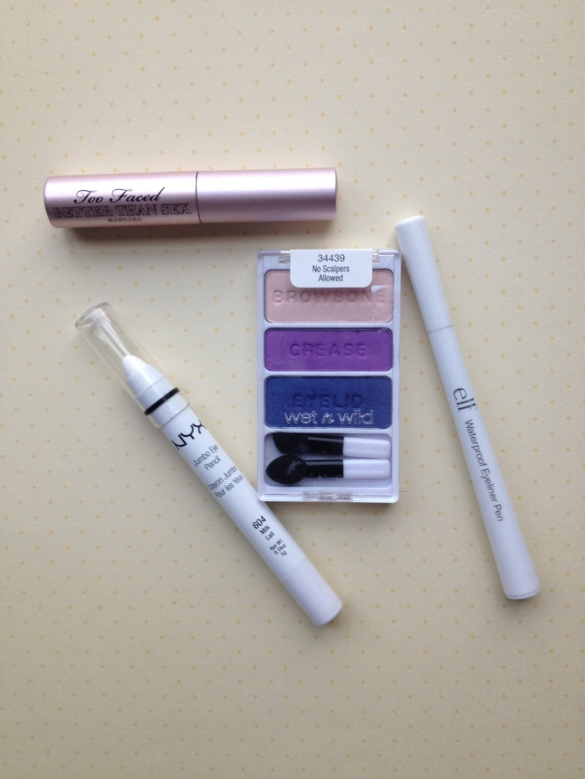 Sample size Better Than Sex Mascara, NYX Jumbo Milk, and e.l.f. Eye Liner Pen in Plum
