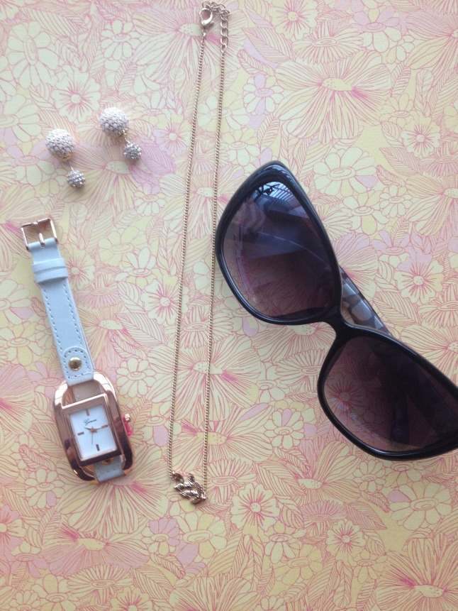 Adelle Earrings, Courtney Watch, Kiera Necklace, and Kendra Sunglasses