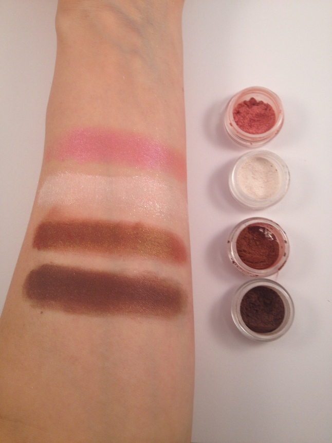 Swatches next to sample jars.