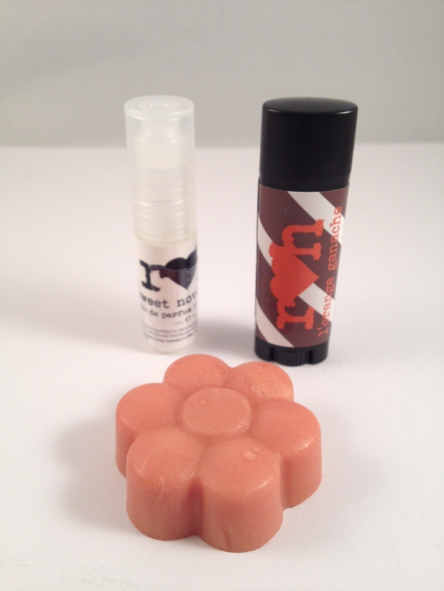 Sweet November Roller Ball, Sweet November Shimmer Soap, and L'Orange Ganache Lip Balm
