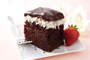 Photo from kraftrecipies. I'm not affiliated with Kraft, but you can check out the recipe here: http://www.kraftrecipes.com/recipes/bakers-chocolate-coconut-cake-115787.aspx