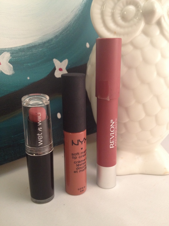 "Wet n Wild ""Rose to Fame, NYX ""Cannes"", and Revlon ""Sultry"", Creepy Owl ""Hector"""