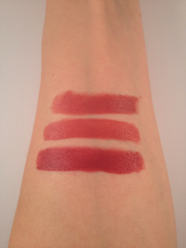 "Top to Bottom: Wet N Wild ""Rose to Fame"", NYX ""Cannes"" and Revlon, ""Sultry"""
