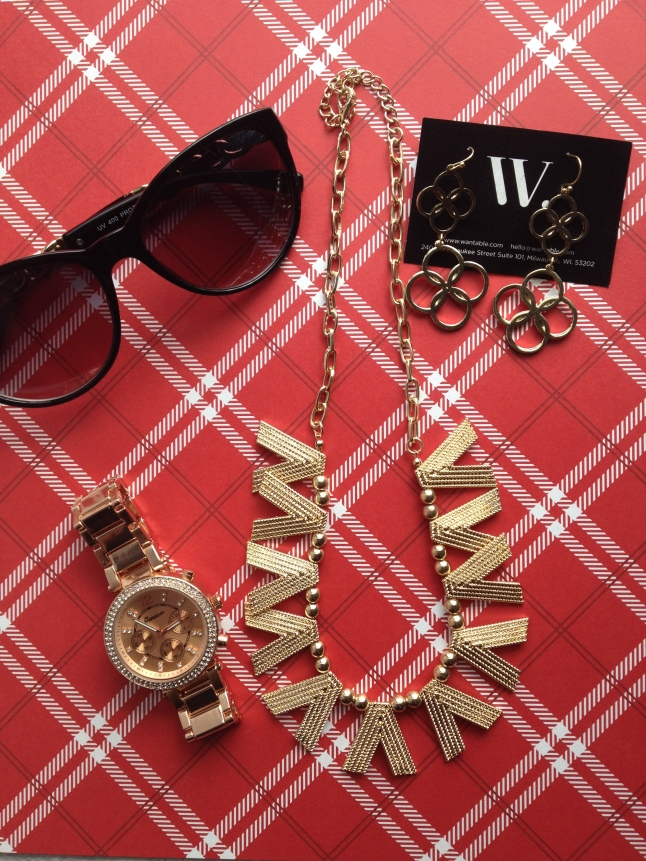 Melissa Sunglasses Gold, Crystal Gold Watch, Meghan Necklace, Sylvie Earrings