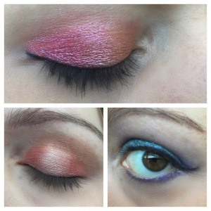 Top: Glamour Doll Eye's Juicy Mango on the inner corner with Showtime on the rest of my lid. Bottom left: Rebel all over the lid with GDE's Vulnerable blended (not so artfully) into the center. Bottom Right: Headstrong on lid with Pureheart foiled as liner.