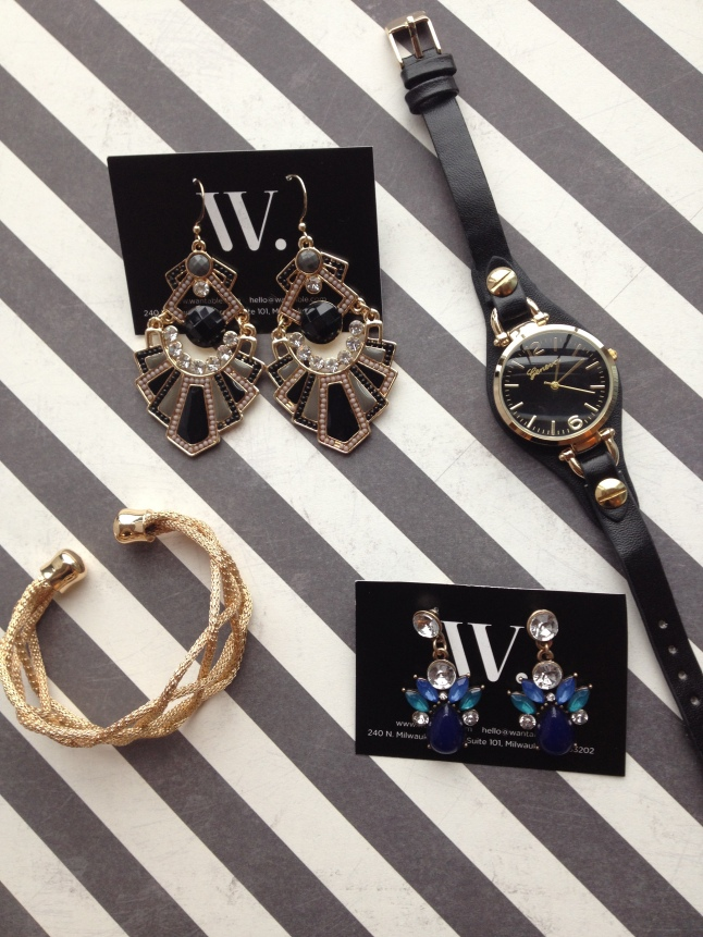 Kourtney Earrings, Miranda Watch, Ali Bracelet, Mandy Earrings