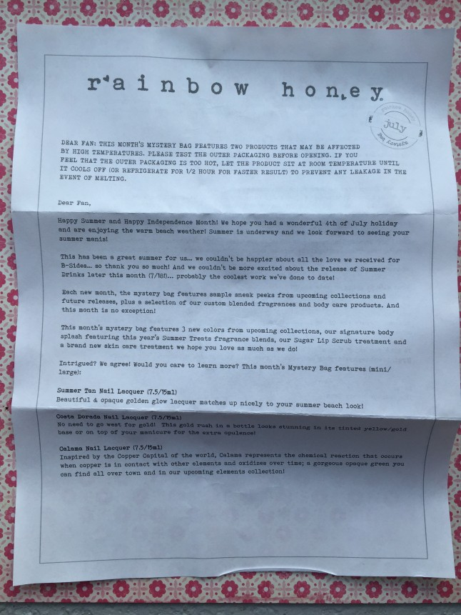 Rainbow Honey Info Card