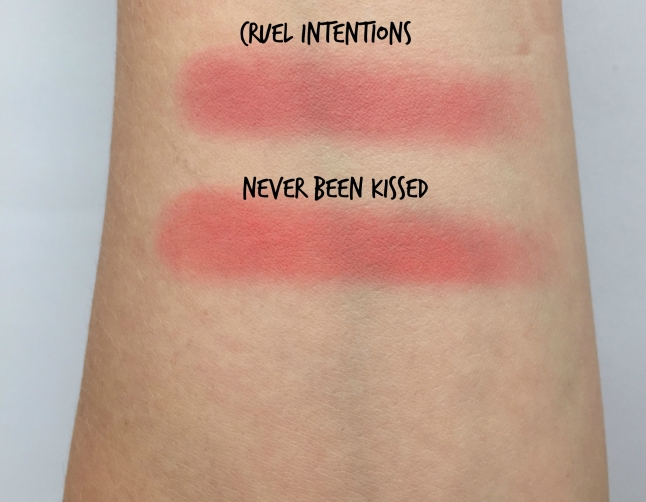 colourpop swatch cruel intentions never been kissed
