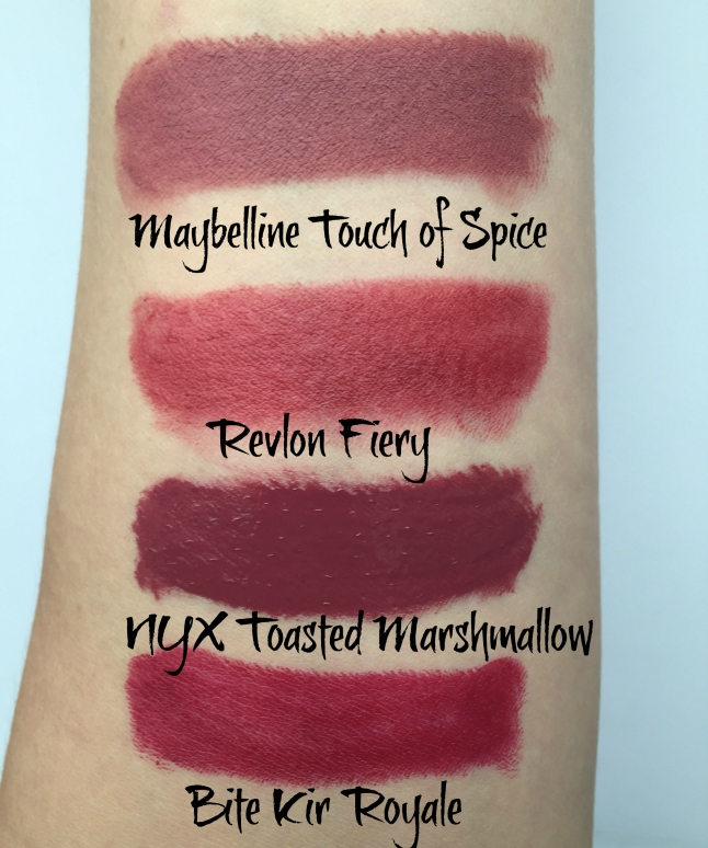 4 fall lipstick swatches maybelline revlon nyx